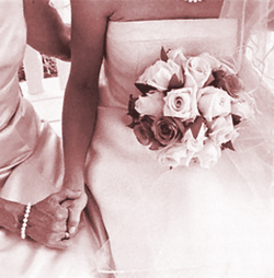 wedding holding bride's hand